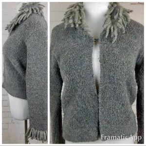 . Free people grey fringe sweater wool blend 5154